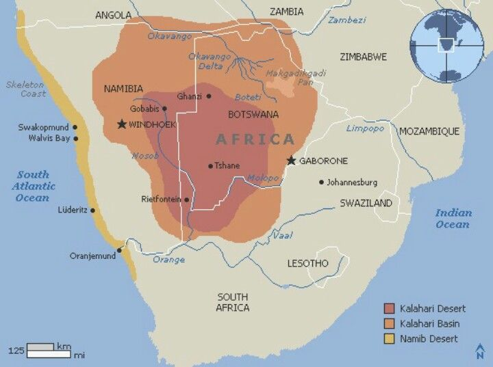 africa map with kalahari desert