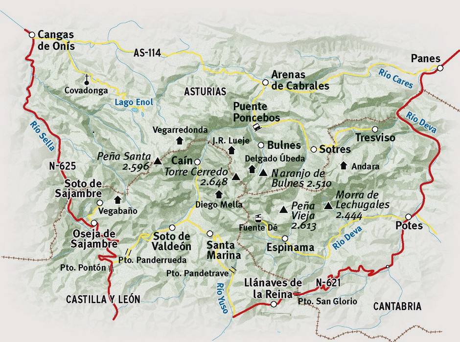 Map of the Picos de Europa