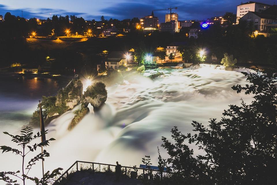Rhine Falls Illumination at night