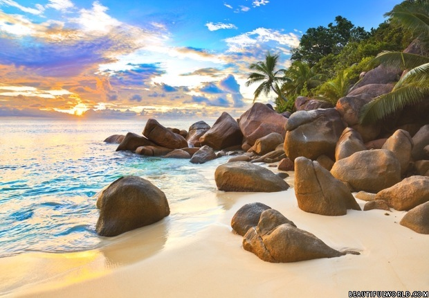 Seychelles Beach at Sunset