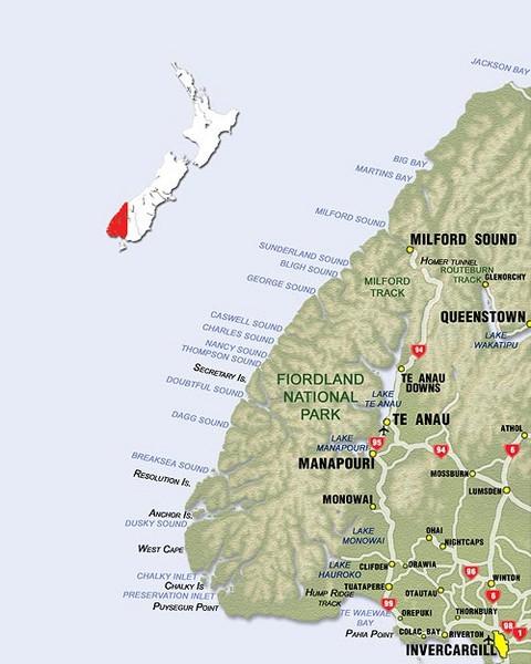 Fiordland Park Map
