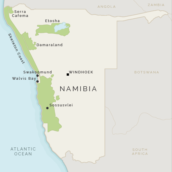 Location map of Sossusvlei in Nambia