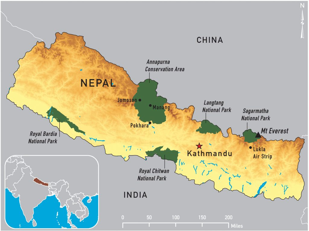 Sagarmatha National Park in the Map of Nepal