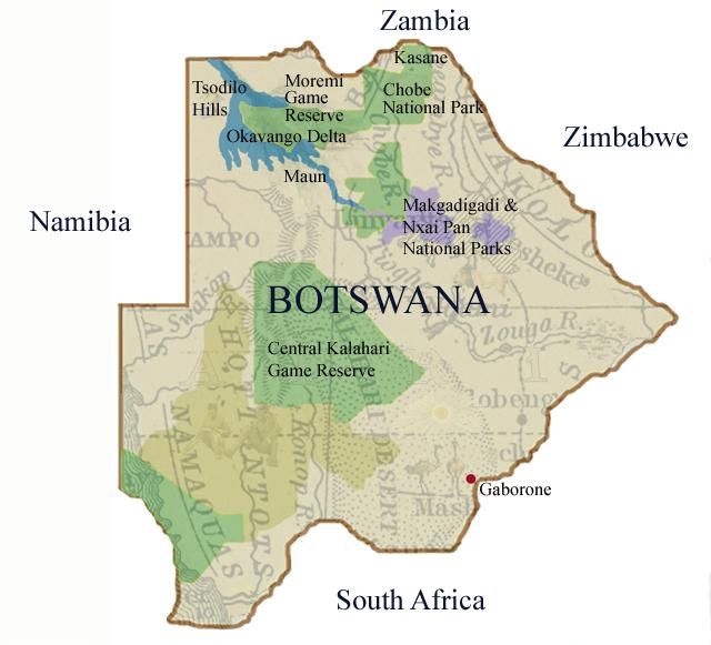 Map of Botswana and the Okavango Delta