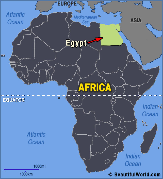africa map showing egypt