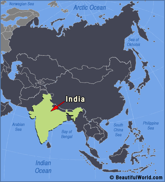 Map of India - Facts & Information - Beautiful World Travel Guide Indan Ocean Map Of India And Nepal on