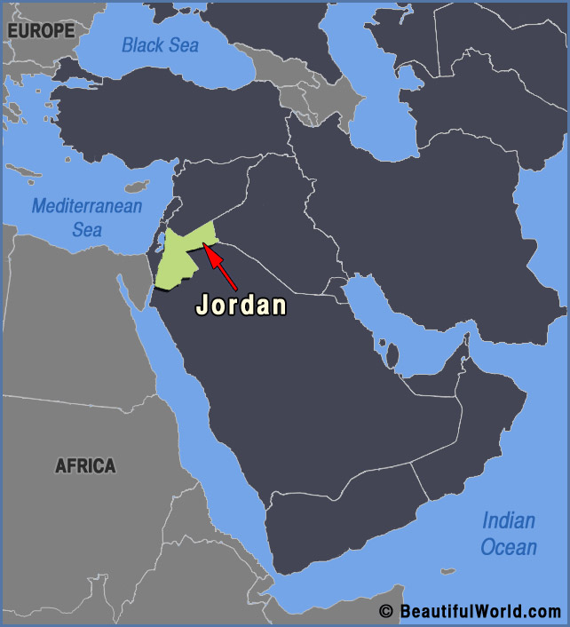 Map of Jordan - Facts & Information - Beautiful World Travel Guide