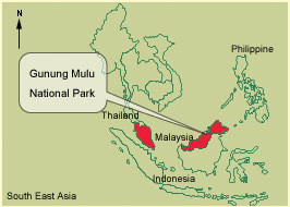 Location Map of the Mulu Caves