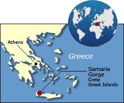 Samaria Gorge Map, Crete, Greece