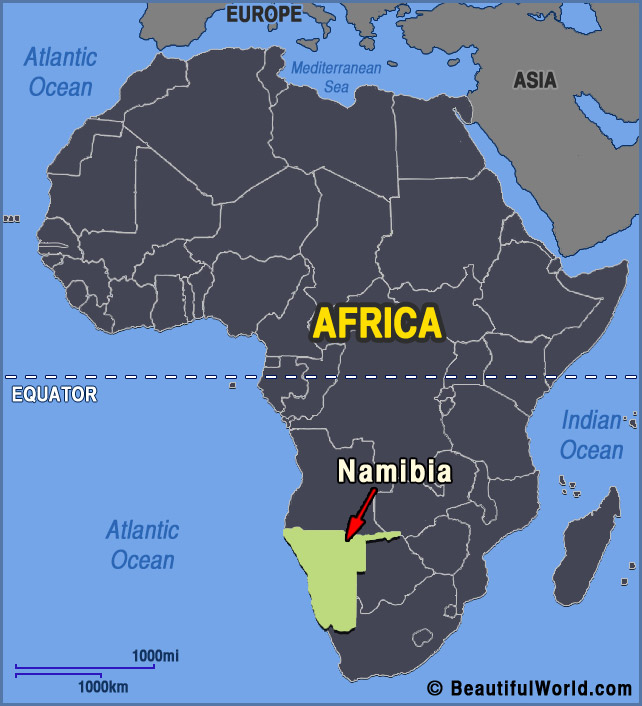 Namibia On Africa Map.Map Of Namibia Facts Information Beautiful World Travel Guide