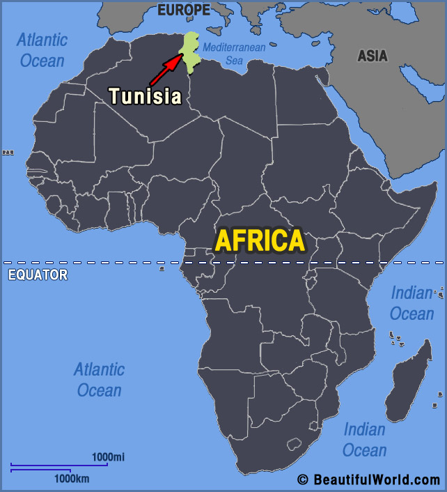 africa map with tunisia
