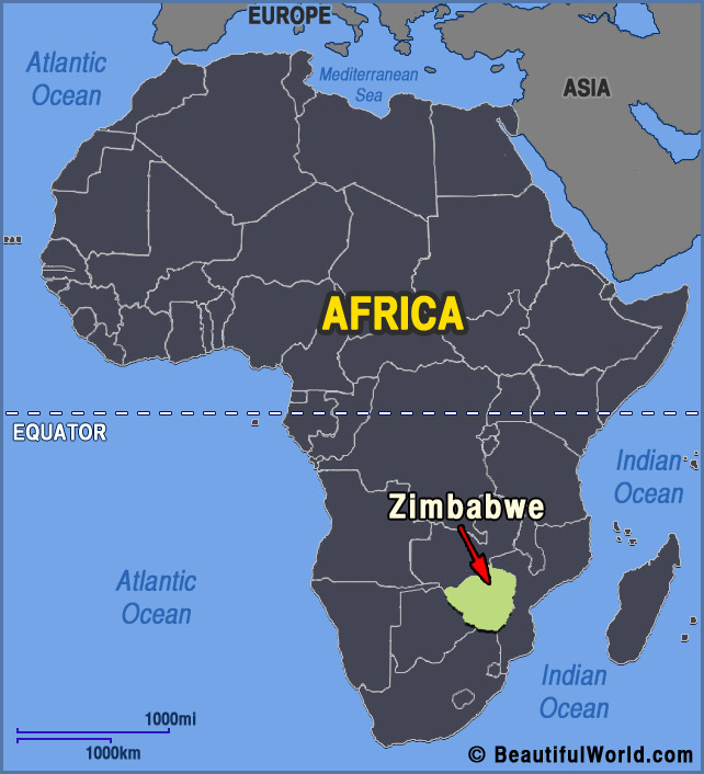 africa map with zimbabwe