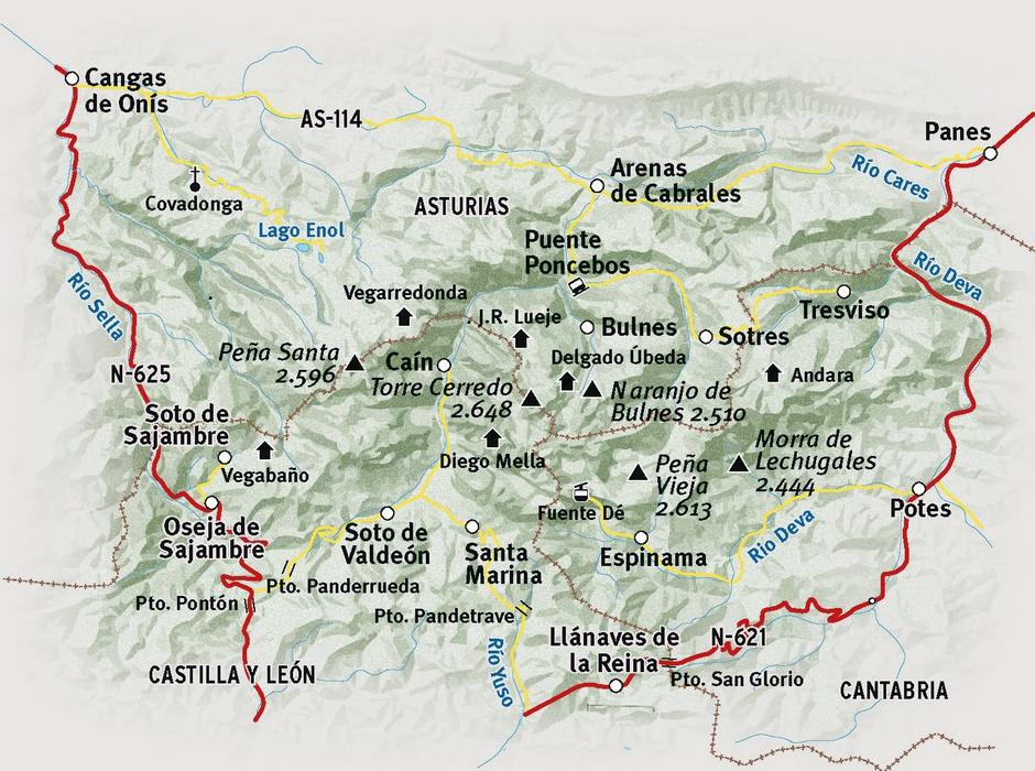 Map of the Picos de Europa