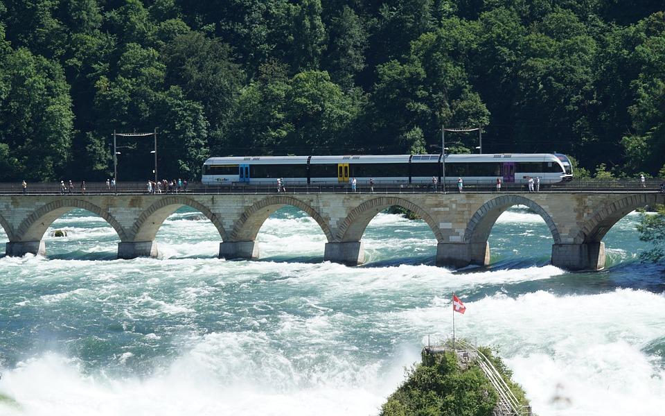 Rhine Falls train and pedestrian bridge