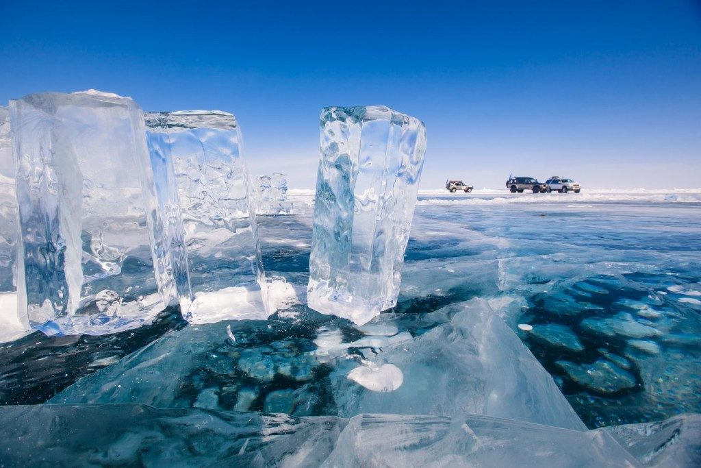 Lake Baikal is frozen for almost five months each year