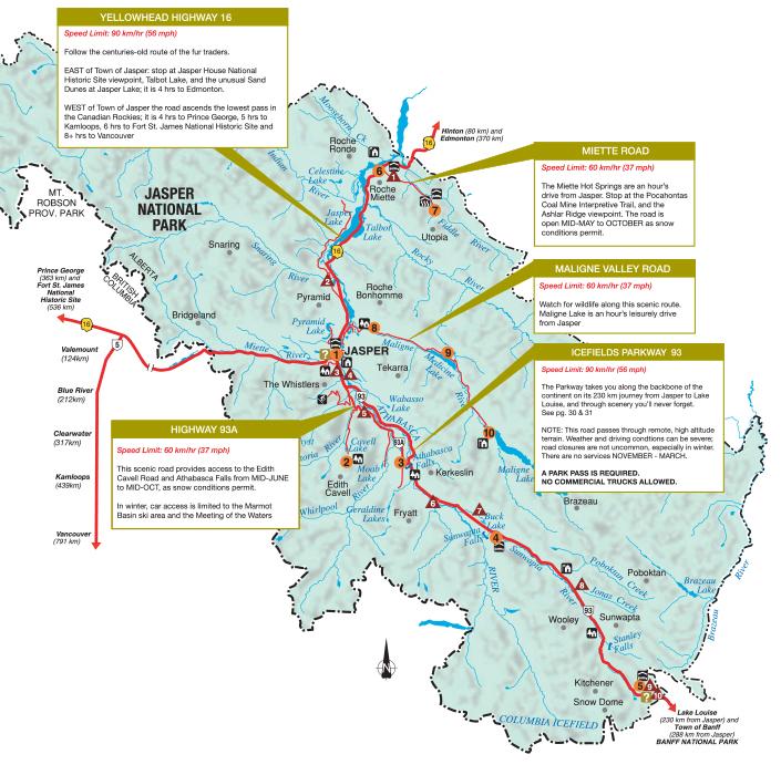 Map of Jasper National Park