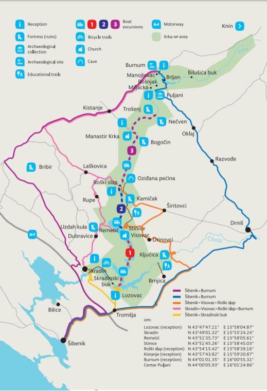 Map of Krka National Park