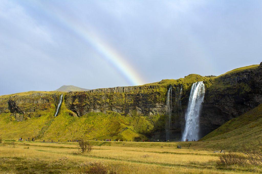 Selijalandsfoss Waterfall in the Summer